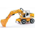 road works liebherr excavator - yellow