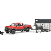 ram 2500 power wagon with horse trailer and one horse - 1:16 scale