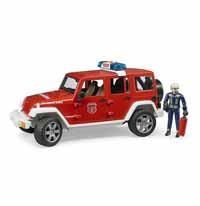 bruder - jeep wrangler - rubicon fire department vehicle with fireman - 1:16 scale