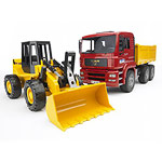 man tga construction truck and articulated loader