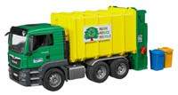 man tgs rear loading garbage truck - green - 1:16 scale