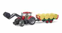 case tractor with loader and bale trailer - 1:16 scale