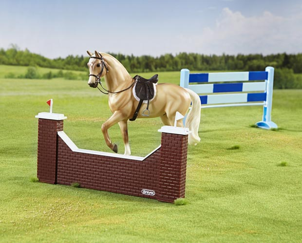 show jumping horse and jumps set