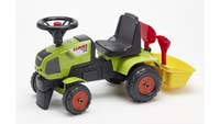 falk baby claas tractor with mini trailer shovel and rake