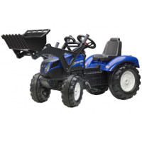 new holland t8 tractor with rubber tyre bands, front loader and trailer