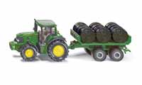 john deere 7530 with bale trailer - 1:87 scale