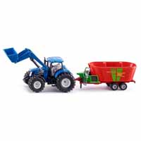 new holland with front loader and strautmann fodder mixer - 1:50 scale
