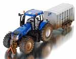 new holland with ifor williams trailer - muddy version - 1:32 scale